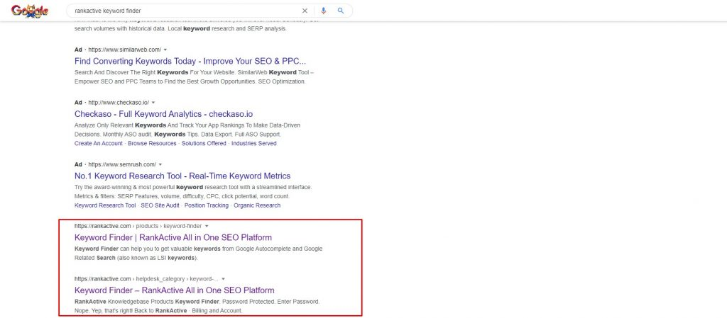 keyword cannibalization in search results