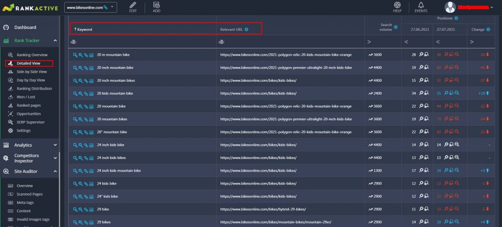 keyword mapping using Rank Tracker
