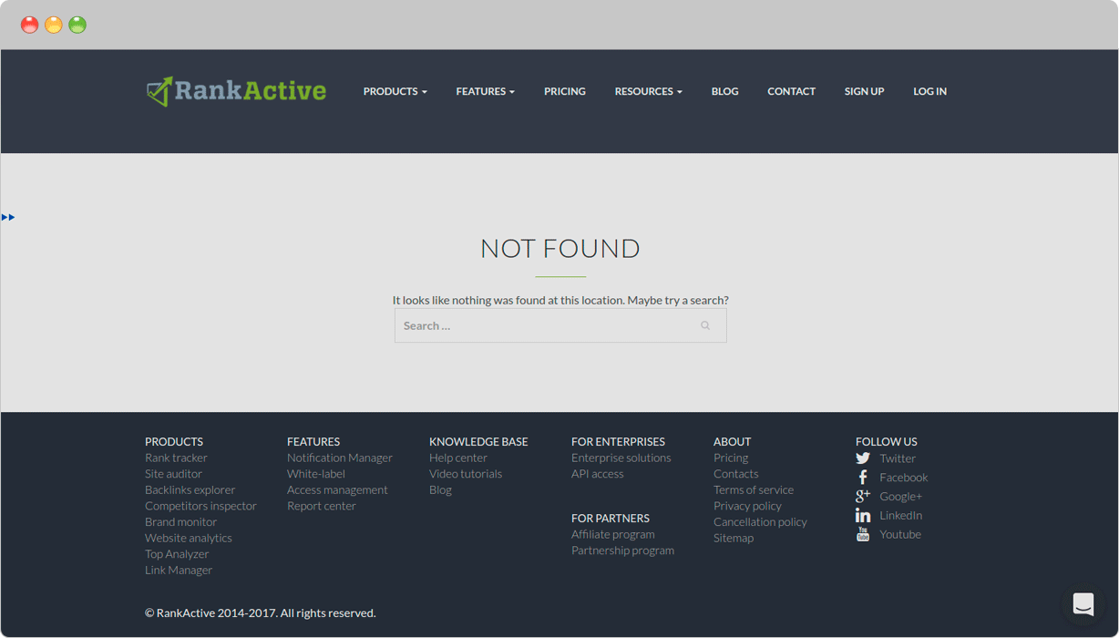 Example of including a search engine in 404 page: www.rankactive.com