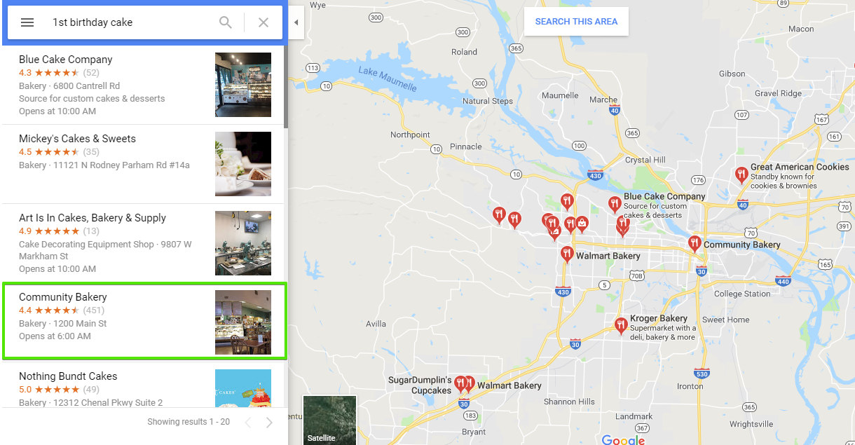 Community-bakery-google-maps