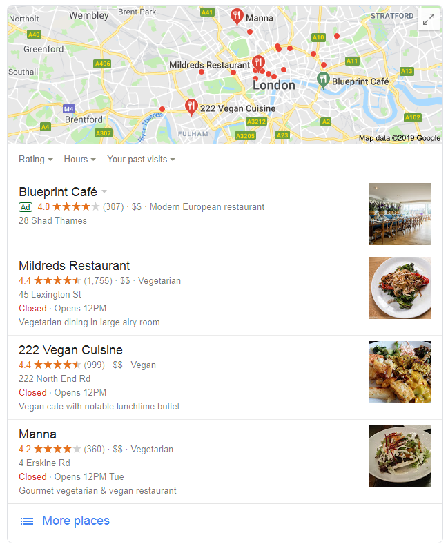 google my business restaurants