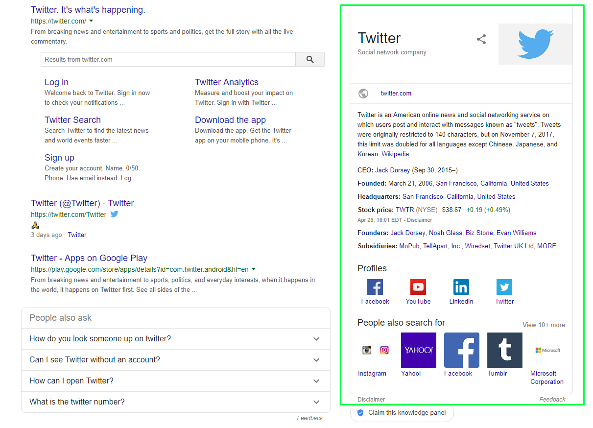 knowledge graph twitter example