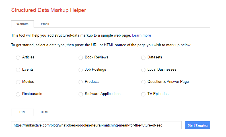 starting the work structured data markup helper