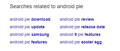 android pie related searches