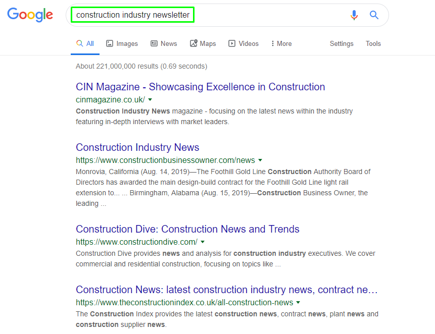 construction industry newsletter Google Search