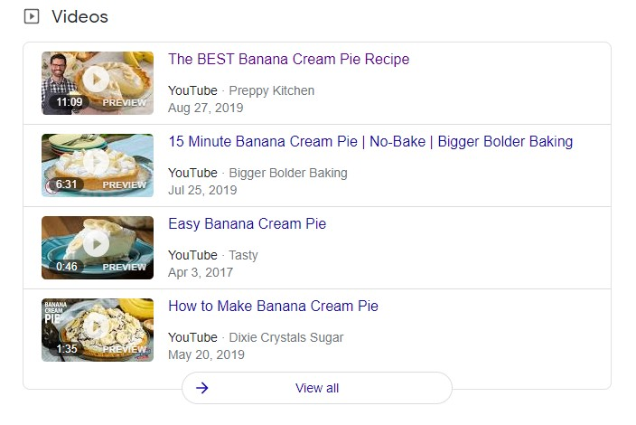 video results in SERP