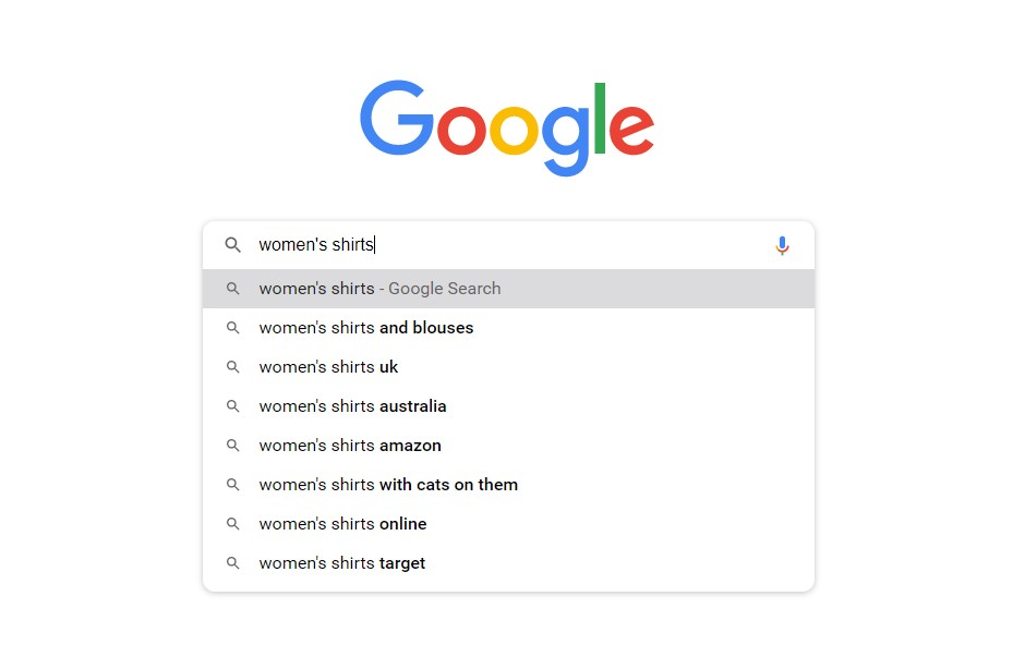 google's keyword suggestions