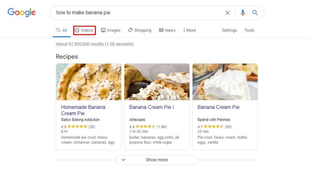 how to make banana pie videos