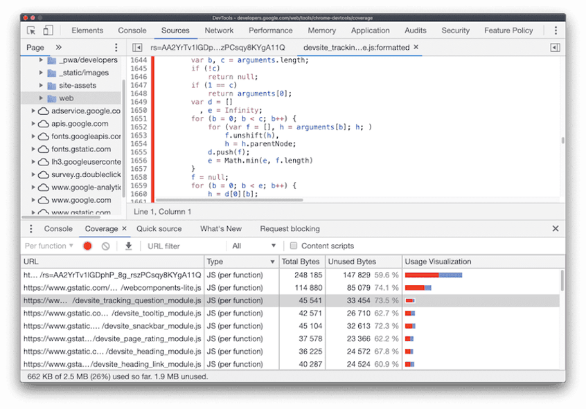 unused JS code in Coverage Tab