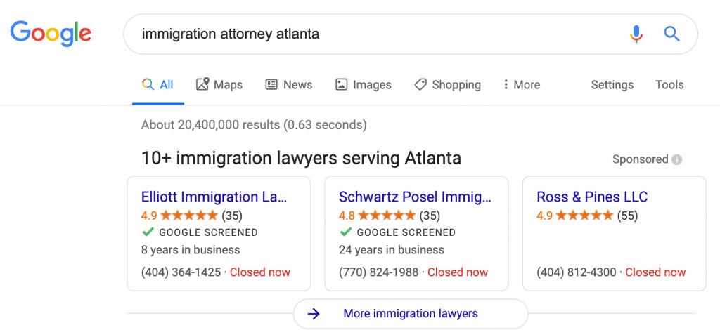 Google Screened badges in local listings