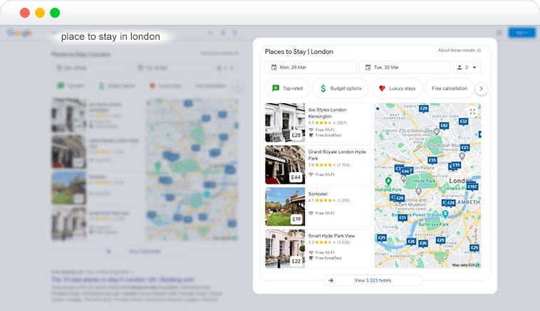 hotels pack element in SERP