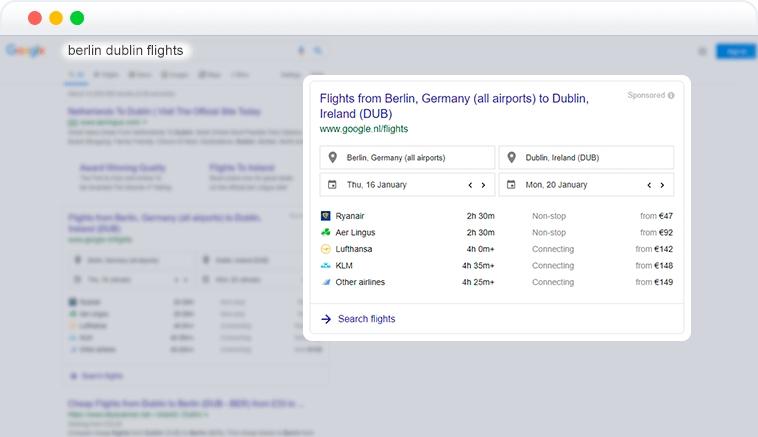 google flights element in SERP