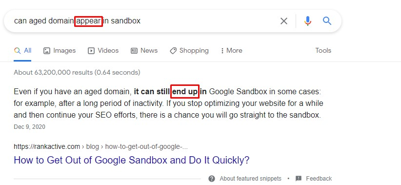 proof that you can use synonyms of the words from your query and rank well