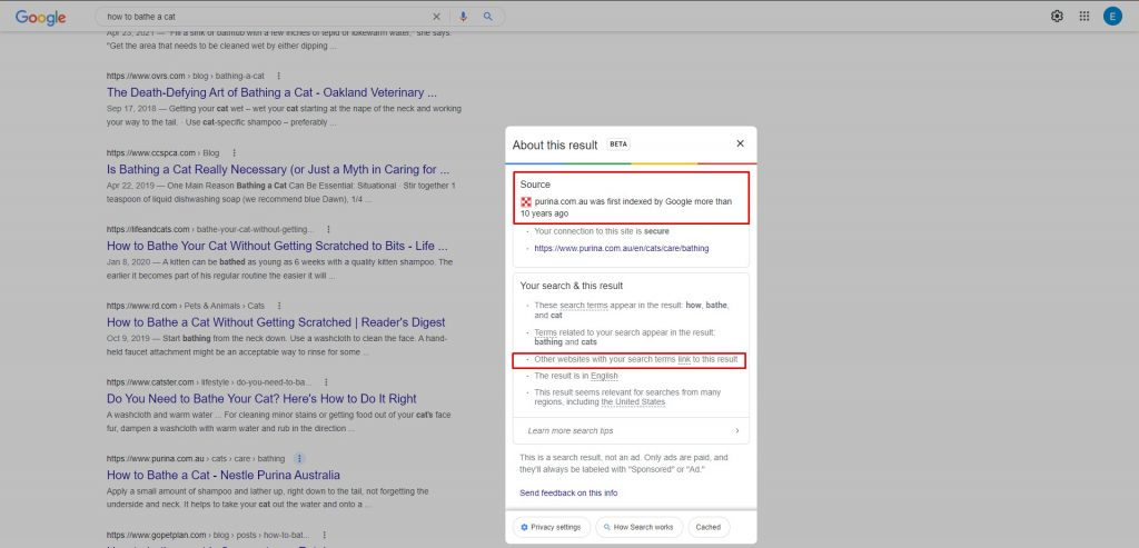 Proof that Google cares about domain age and the quality of its backlinks